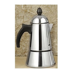 La Pavoni - Konica 6-Cup Stainless Steel Stove Top Espresso Maker - Only requires 1.5 to 2 ounces of water per cup. Works on gas, induction or vitro. Not to be used on an electric stove. 1-Year warranty. 9 in. H