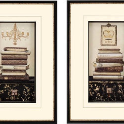 Paragon Decor - Book Story Set of 2 Artwork - Ivory matting is accented with hand drawn gold lines.
