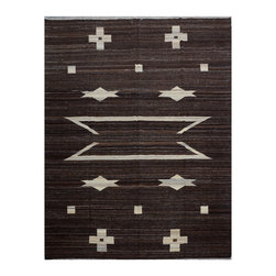 "ALRUG - Handmade Chocolate Oriental Kilim  7' 5"" x 9' 7"" (ft) - This Afghan Kilim design rug is hand-knotted with Wool on Wool."