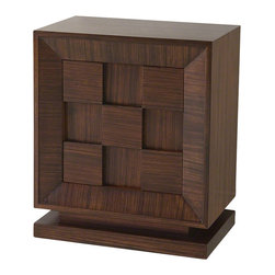 Global Views - Small Block Chest - The Small Block Chest features a fine hand rubbed finish on zebra wood veneer.  This furniture piece has one adjustable shelf.  The scale and size of this beautiful piece offers great flexibility, making it suitable for any room in the house.