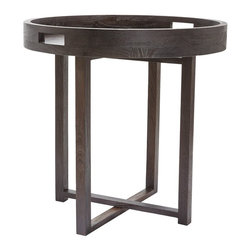 Lazy Susan - Lazy Susan 784058 Large Round Black Teak Side Table Tray - Coffee and teak, anyone? This tray and table combination serves up great style made of natural teak in a dark espresso finish. At about 26 inches high, there's a round tray with handles so you can move easily from the kitchen to your favorite spot for sipping or nibbling.