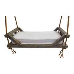 "Vintage Swing Bed - This piece we made from reclaimed Douglas Fir. It has 4-3/4"" wide x 1"" thick slats under the mattress. It has our weathered texture with distressed black & blue worn finish with our water borne agualenta top coat. It has more than adequate 1-1/2"" rope for support & added character. The bed uses all mortise & tenon with no metal fasteners. Twin Size Bed."