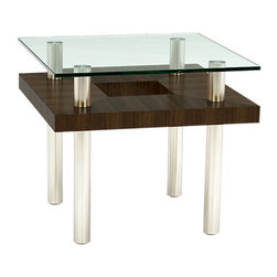 BDI - Hokkaido End Table, Chocolate Stained Walnut - Elegant and sculptural, the eye-catching Hokkaido End Table by BDI combines metal, wood grain, and glass. The glass top looks are though it is floating about the geometric cut-out middle shelf. The chrome legs finish of the accent table, which would be perfect in a modern home or office. Choose between 3 color wood finishes.