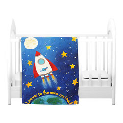 DiaNoche Designs - Throw Blanket Fleece - Love You to the Moon Rocket - Original Artwork printed to an ultra soft fleece Blanket for a unique look and feel of your living room couch or bedroom space.  DiaNoche Designs uses images from artists all over the world to create Illuminated art, Canvas Art, Sheets, Pillows, Duvets, Blankets and many other items that you can print to.  Every purchase supports an artist!