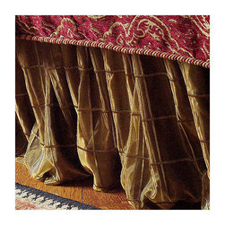"Frontgate - Veneta Bedskirt - Bronze, Queen - From Eastern Accents. Bed skirt has split corners and kick pleats. Dry clean only recommended. Twin - 39"" x 75"" x 16"" Queen - 60"" x 80"" x 16"" King - 78"" x 80"" x 16"" California King - 72"" x 84"" x 16"".. Because this bedding is specially made to order, please allow 4-6 weeks for delivery.. Finish your bed set with breathtaking opulence with the Veneta Bedskirt .  .  . . . Made in USA of imported goods. Coordinates with the Marbella Bedding Collection and Vaughan Bedding Collection."