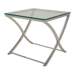 Nuevo Living - Felix Side Table - With its curvy legs crossed asymmetrically, this sleek little side table has a touch of whimsy that catches the eye unexpectedly. Light, slim and polished in stainless steel and glass, it's got the perfect mix of class and character to suit any modern space. Try it next to an armchair, bed or bathtub.