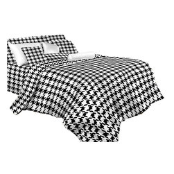 Dolce Mela - Houndstooth Check, Luxury 100% Cotton Duvet Cover Set by Dolce Mela Bedding, Que - Revitalize the mood of your bedroom with this modern bedding ensemble featuring vivid prints of houndstooth and check shapes.