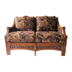 Spice Island Wicker - Wicker Loveseat with Cushions (Hokena Oasis - All Weather) - Fabric: Hokena Oasis (All Weather)Made from wicker. Brown wash finish. Includes cushions. No assembly required. 50.38 in. L x 34 in. W x 35 in. H (75 lbs.)