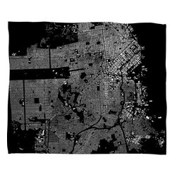 DENY Designs - Cityfabric Inc San Francisco Black Fleece Throw Blanket - This DENY fleece throw blanket may be the softest blanket ever! And we're not being overly dramatic here. In addition to being incredibly snuggly with it's plush fleece material, it's maching washable with no image fading. Plus, it comes in three different sizes: 80x60 (big enough for two), 60x50 (the fan favorite) and the 40x30. With all of these great features, we've found the perfect fleece blanket and an original gift! Full color front with white back. Custom printed in the USA for every order.