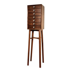 ecofirstart - Atlantic 7-Drawer Chest - Lucky number seven. This solid walnut chest features fabric-lined drawers to protect your jewelry, lingerie and more. Set on legs that place it at just at the right height, each drawer is fitted with pump organ drawer pulls for vintage charm.