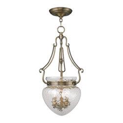 Joshua Marshal - Three Light Antique Brass Foyer Hall Pendant - Three Light Antique Brass Foyer Hall Pendant