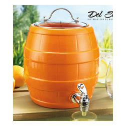 Home Essentials - Orange Ceramic Drink Dispenser With Spigot - Fill our party-sized 1.5 gallon ceramic beverage server with your favorite sangria, punch or the iced thirst-quencher of your choice. This Orange Drink Jug will add some fun & spice to your picnic and parties for your summer drinking enjoyment. The handy spigot lets guests serve themselves. It is finished with a glass lid.