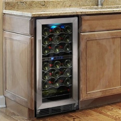Vinotemp - VT32SBID 32-Bottle Wine Cooler with Interior Display  Interior Push Button Contr - Store your collection in style with the 32-Bottle Wine Cooler with Interior Display This sophisticated cooler features a black cabinet and stainless steel door with handle The soft blue lighting illuminates your collection making it easy to find and ...