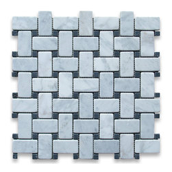 "Stone Center Corp - Carrara Marble Basketweave Mosaic Tile Black Dots 1x2 Tumbled - Carrara white marble 1"" x 2"" rectangle pieces and Nero Marquina 3/8"" dots mounted on 12"" x 12"" sturdy mesh tile sheet"