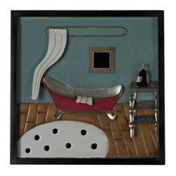 Sterling Industries - Sterling Industries 51-10119 Bathroom Scene-Bathroom Scene Metal Wall D�cor - Wall Panel (1)