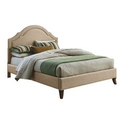 Standard Furniture - Standard Furniture Simplicity Cathedral Upholstered Platform Bed in Linen - Full - Simplicity Bed Collection, available in brown bonded leather and tan Linen-Look fabrics, offers two sophisticated headboard profiles, each a beautiful focal point for designing any style bedroom around.