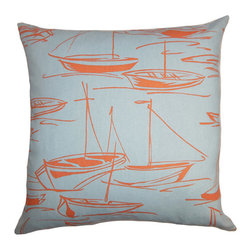 The Pillow Collection - Gamboola Orange and Blue 18 x 18 Nautical Throw Pillow - - Pillows have hidden zippers for easy removal and cleaning  - Reversible pillow with same fabric on both sides  - Comes standard with a 5/95 feather blend pillow insert  - All four sides have a clean knife-edge finish  - Pillow insert is 19 x 19 to ensure a tight and generous fit  - Cover and insert made in the USA  - Spot clean and Dry cleaning recommended  - Fill Material: 5/95 down feather blend The Pillow Collection - P18-D-21012-CORALSEA-C100
