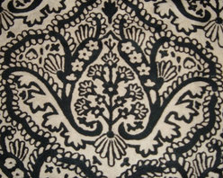 Crewel Fabric Paisley Tapestry Black and White Cotton Duck- Yardage - Fabric Type: Cotton Duck