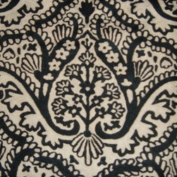 Crewel Fabric World by MDS - Crewel Fabric Paisley Tapestry Black and White Cotton Duck- Yardage - Fabric Type: Cotton Duck