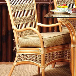 Spice Island Wicker - Wicker Dining Chair with Cushion (Garden Scroll - All Weather) - Fabric: Garden Scroll (All Weather)Relax in solitude or enjoy casual entertaining with comfortably styled Spice Island wicker dining chairs.  The natural finish highlights the artful weaves and insets framed with sturdy caning.  Change the look from classic to upscale with choice of fabric patterns and colors.  Select this attractive high-back dining chair crafted in sturdy wicker and rattan.  Decorative wicker trim adds distinction. * Solid Wicker Construction. Natural Finish. For indoor, or covered patio use only. Includes cushion. 23.5 in. W x 26 in. D x 37.5 in. H