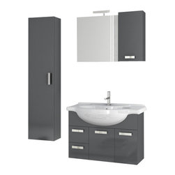 ACF - 32 Inch Glossy Anthracite Bathroom Vanity Set - Manufactured and designed in Italy, this bathroom vanity set was made with the contemporary bathroom in mind.