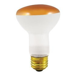 Bulbrite - Halloween Incandescent Reflector Bulbs in Amb - One pack of 12 Bulbs. 120V E26 intermediate base bulb. 360 degrees beam spread. Long life. Colored reflectors add a festive and fun touch to any application. Ideal for indoor residential and commercial use lighting. Perfect for recessed cans, sign, display, track applications. Dimmable. Average hours: 2000. Color rendering index: 100. Wattage: 50 watt. Maximum overall length: 4 in.