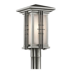 Kichler - Kichler Portman Square 1-Light Stainless Steel Post Light - 49162SS - This 1-Light Post Light is part of the Portman Square Collection and has a Stainless Steel Finish. It is Outdoor Capable.