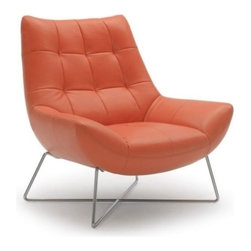 Modern Orange Lounge Chair - Modern Orange Lounge Chair upholstered with top grain Italian leather. Mounted on the chromed stainless steel legs.