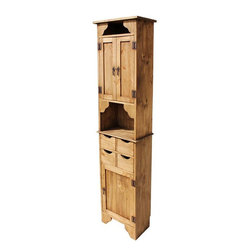 Rustic Pine Furniture for Your Hacienda - If you have a narrow spot in your home and need more storage, this rustic Mexican cabinet is the ideal solution. There is one large compartment on the bottom perfect for a large blender or other appliance. There are four solid rustic pine drawers for small miscellaneous items, a small open shelf, three shelves in the top cabinet and then another small open shelf on top...lots of room for spices or other cooking products.
