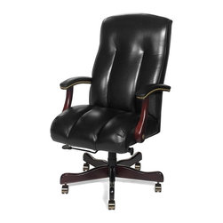 EuroLux Home - New Office Chair Wood Leather Removable Leg - Product Details