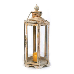 Go Home - Go Home Large White Lantern - Illuminate the dull settings with this traditional Large White Lantern. Part of our Antique European country collection, it features a pillar like structure standing on a mount. The lantern is four sided and has a flat surface on the inner side to facilitate a standing candle.