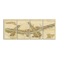 Uttermost - Paris Map Wall Art S/4 - This Frameless, Giclee Artwork On Canvas Provides Crisp Color And A High Degree Of Fine Detailing. The Canvas Is Stretched And Attached To Wooden Stretching Bars.