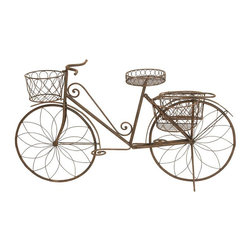 Aspire - Metal Bicycle Garden Planter - Display your plants in a unique way within your garden with this bicycle planter. This planter has baskets for displaying up to four pots. You can even place additional smaller pots on each pedal. Metal. Color/Finish: Rustic brown. Assembly Required. 31 in. H x 56 in. W x 16 in. D. Weight: 23 lbs.