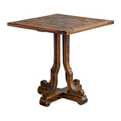 "Joshua Marshal - Distressed Honey Wood Lucy 24""W Mango Wood Accent Table - Distressed Honey Wood Lucy 24""W Mango Wood Accent Table"
