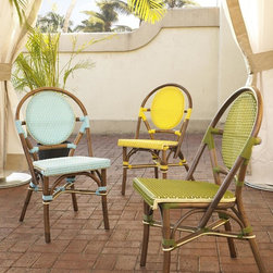 Padma's Plantation - Padma's Plantation Paris Bistro Chair Green - These rattan-frame dining chairs are an iconic part of the outdoor bistros in Paris. Hand-woven in bright synthetic material  they will add a pop of color to your outdoor space.
