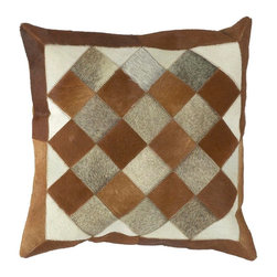 "Surya - Surya PMH122-1818D Pillow - This pillow brings a western feel to any room with its animal hide design. Colors of caramel, brown, and ecru accent this decorative pillow. This pillow contains a poly fill and a zipper closure. Add this 18"" x 18"" pillow to your collection today."