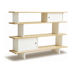 Mini Library - These shelves would make a great spot for stashing books and toys, not to mention the look is so clean and modern it would take years and years to outgrow!
