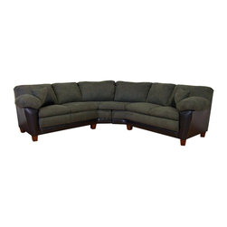 Chelsea Home - James 2-Pc Sectional Sofa in Bicast Black Fab - Includes toss pillows. Seating comfort: Medium. Hardwood frame and engineered wood products. Seat cushion is attached. Seat back cushion is attached. Seat cushion is not reversible. No sag sinuous spring system used to maintain a uniform seating area. Dacron wrapped 1.5 density foam cushions. Made from polyester, PVC blend and hardwood. Bulldozer graphite and bicast black color. Made in USA. No assembly required. 73 in. L x 35 in. W x 38 in. H (270 lbs.)
