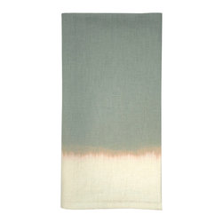 Ombre Dyed Guest Towel - Ivory / Celedon - A guest towel of unconventional beauty that bestows panache to the powder room. The soft, blended coloration of the Ombre Dyed Guest Towel - Celadon/Ivory suggests the gentle meeting of sea and shore. This enchanting towel offers your guests refined comfort, while the soft coloration allows for ease in blending with the appurtenances of transitional baths either bold or subtle in color.