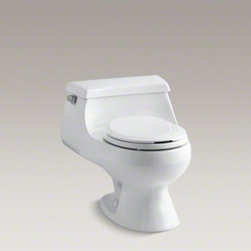 KOHLER - KOHLER Rialto(R) one-piece round-front 1.6 gpf toilet with Rim Jet flush technol - Curvy and compact, this one-piece toilet makes a strong design statement. A space-saving tank curves seamlessly into a round-front bowl for a low-profile silhouette. This toilet includes ergonomically designed seating, and a lid with an indented area to keep fingers from touching the seat. At 1.6 gallons per flush, this Rialto toilet delivers strong, quiet flushing performance.