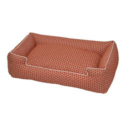 Jax & Bones - Jax & Bones Eve Lounge Bed Eve Orange Small - These beds have cozy surrounding bolsters which allow your pet to curl, snuggle, or lean against. Ideal for pets who need extra reassurance and warmth. These beds have zippers and removable inserts for easy maintenance and care. A diverse selection of heavy weight fabrics that are machine washable and luxurious to the touch. Most of these fabrics carry a texture that will create a uber luxurious upholstery feeling dog bed.  100% Machine Washable  and Certified Eco-Friendly!