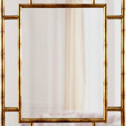 """Bamboo"" Paneled Mirror - Bamboo-inspired furniture and home decor continues to be a popular and timeless trend. The soft gold leaf finish of this mirror is great for adding a warm metallic finish to the wall. I love the idea of pairing the warm gold finish with a bold lacquered console table in kelly green or turquoise!"