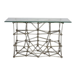 "Worlds Away - Molecule 54"" Silver Leaf Console - Silver Leaf Iron Console Table With Rectangular 22 X 54 Glass Top"