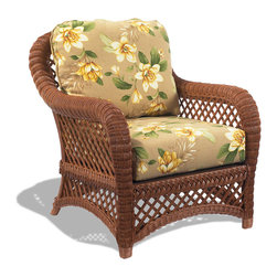 WickerParadise - Lanai Brown Wicker Chair - Kick back and relax island style in this wicker chair. Lush flowers on plump cushions bring a little bit of tropical flair to your home. Place this in a snug breakfast nook and enjoy a smoothie over your morning paper.