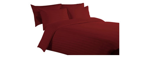 400 TC Duvet Cover with 1 Fitted Sheet Striped Burgundy, Queen - You are buying 1 Duvet Cover (88 x 88 inches) and 1 Fitted Sheet (60 x 80 inches) only.