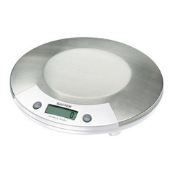 Taylor - Electronic Kitchen Scale - Salter 1015WHSSDR White Electronic Kitchen Scale with smooth curved stainless surface is hygienic platform and resistant to staining and flavor carry-over