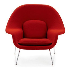 Womb Chair, Boucle Classic Fabric, Chrome Frame
