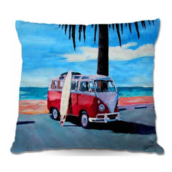 DiaNoche Designs - Pillow Woven Poplin - The Red Bus Vokswagon - Toss this decorative pillow on any bed, sofa or chair, and add personality to your chic and stylish decor. Lay your head against your new art and relax! Made of woven Poly-Poplin.  Includes a cushy supportive pillow insert, zipped inside. Dye Sublimation printing adheres the ink to the material for long life and durability. Double Sided Print, Machine Washable, Product may vary slightly from image.