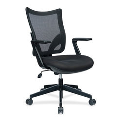 Lorell - Lorell S-8 Task Mesh Back Task Chair, Black Fabric Seat - Task chair features a breathable mesh back and cushioned seat upholstered with fabric that has a carbon fiber patterned finish. With dual-action synchrony tilt, the backrest and seat tilt in unison. Back tilts more than seat and is tension-adjustable. Other functions include pneumatic seat-height adjustment from 16-1/2 to 20, 360-degree swivel and tilt tension. The 25-4/5 diameter, five-star nylon base is equipped with 60mm casters. Weight capacity is 250 lb. Fixed arms are made of glass fiber and polypropylene for durability. Seat measures 20-7/10 wide x 19-7/10 deep x 4-1/3 thick. Back size is 20-1/10 wide x19-7/10 high.