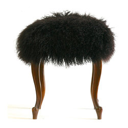 """Footstools - """"Curly"""" is a vintage footstool upholstered with Mongolian lamb fur.  Photo by Wild Chairy"""
